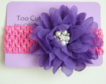 Pink and Purple Floral Headband with Pearl and Rhinestone Embellishment