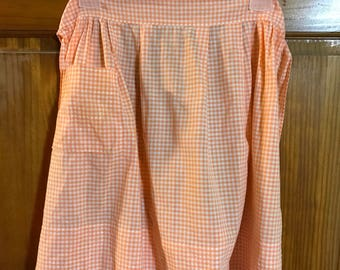 Apron, Gingham Peach and White Vintage Handmade Apron