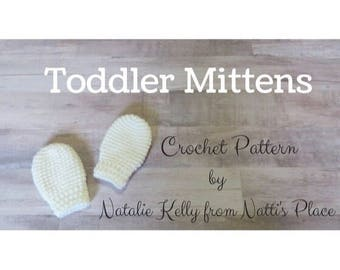 Toddler Mittens Crochet Pattern Digital Download