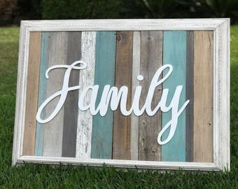 Family wall art, rustic family sign, reclaimed wood sign, 013