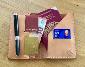 Leather passport travel cover and wallet with card slots. A stylish travel accesssory which also fits a Field Notes book.