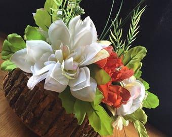 Rustic wood floral arrangement, centre piece, home decor, wood vase