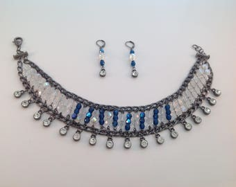 Choker Crystal Blue and Earring