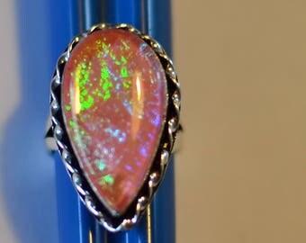 triplet opal silver ring