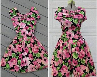 Vintage Floral Princess Cut Tea Dress, Medium