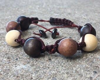 Wooden Shamballa Macrame Bracelet