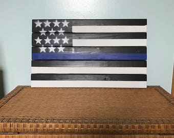 Blue line theme flag
