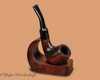 Pipe rack/Stand for Smoking Pipe KAF2/Holder for Tobacco Pipe/Handcrafted stand for pipe from pear/Pipe stand/Single stand/Pipe open holder