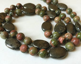 Hand-knotted Pyrite and Unakite Necklace