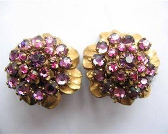 Pretty Pink MIRIAM HASKELL Vintage Rhinestone Earrings