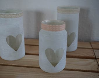 Tea light glasses white with apricot band