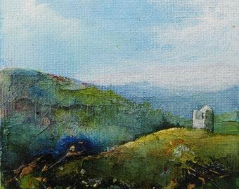 Original Art - Acrylic Canvas Art - Landscape Painting by Jackie Lowman - Cornwall Landscape - Affordable Art -Gift -  Original Artwork
