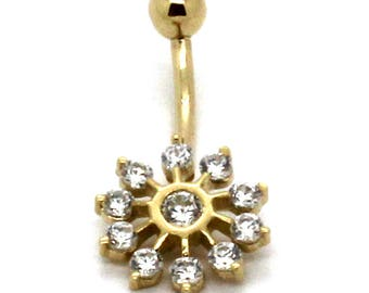14K Yellow Gold Cluster Snowflake Belly Ring with CZ