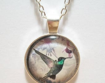 Humming Bird Glass Cabochon Pendant Necklace SC515