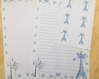 Paris letter writing paper amd envelope seals set - two designs