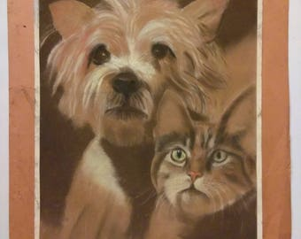 Friends, Dog and Cat Pastel Drawing