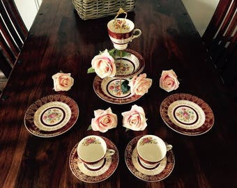 Vintage Cake Stand and Tea Set made with Crownford China