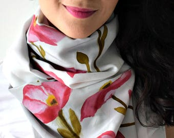 Hand Painted Silk Scarf | Gift for Her | Birthday Gift | Mother's Day Gift | Anniversary Gift | Handmade | Floral | Accessory