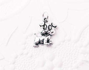 Sterling Silver Dog Charm, Silver Puppy, Pet Charm, Silver Pendant, 12.5mm x 10mm,  SS009