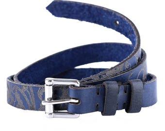 Blue Leather Belt / female blue leather belt / female leather belt / ladies floral belt / royal blue belt / navy blue leather belt for her