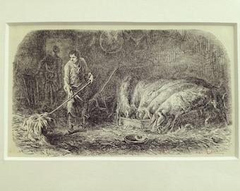 Antique engraving piggery farmer animals farm life pigs Charles Jacque matted print 1880s original vintage excellent condition