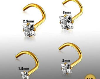 9K Solid Gold – 1.5mm Square CZ Nose Ring/Stud/Pin/Screw