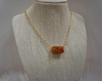 Carnelian stone on gold chain
