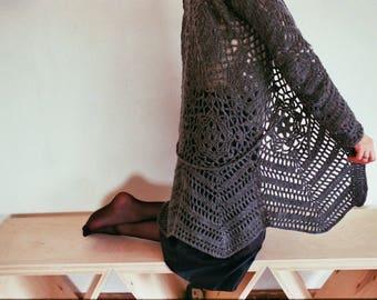 Grey crochet cardigan