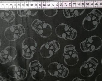 Timeless treasures skulls, realistic skull cotton fabric, shadow skull fabric, black cotton skull fabric