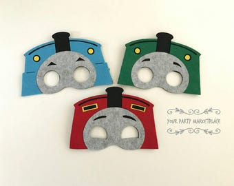 SET OF 3 Train Party Mask, Train Party,  Train Birthday Party, Train Party Favors