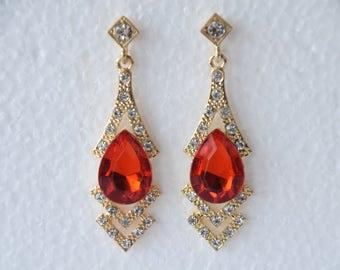 Vintage Gemstone Earrings Red Gemstone Earrings
