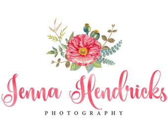 Floral watercolor logo design, photography logo design, pink gold foil logo, floral logo design, premade branding template, instant download