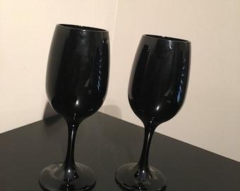 Vintage Black Wine Glasses White Wine Mid Century