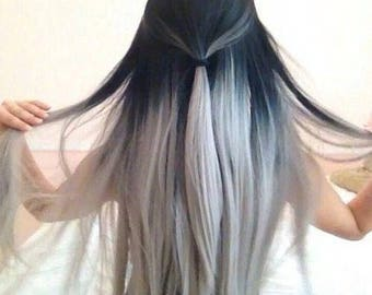 Black to light grey clip in set
