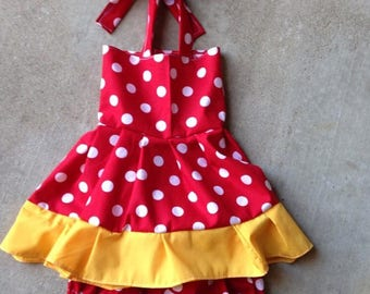 Minnie mouse, mickey mouse, rufflre dress, set,,sunsuit, boutique, nb, 3,6,9,12,24 months, 2,3t