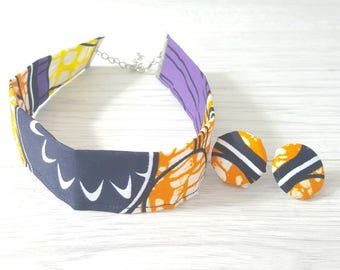 African Print Choker Bold Tribal Ethnic Fabric Choker Necklace Fashion Accessories Jewelry Gift