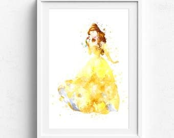 Disney princess art, princess wall art, princess art print, princess wall decor, princess poster, watercolor princess, belle princess, belle