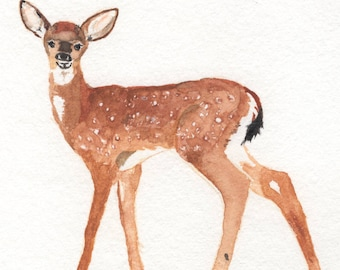 Fawn Watercolor Painting Digital Download
