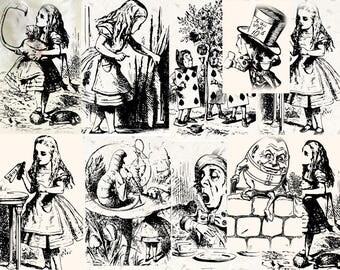 Alice in Wonderland Wall Art Poster Set - Nursery Home Decor - Childrens Book Illustration Print - Girls Room Wall Art Set. Instant download