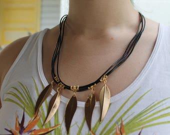 Black Plastic cording metal feather necklace
