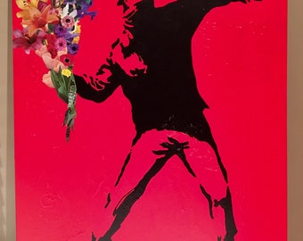 Love is in the air - Bansky Inspired Painted Canvas