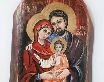Holy Family Icon, Saint Family, Icon Painting, Painting Acrylic, Painting Christian Art, Acrylic Painting, Painting On Wood, Wedding Gift