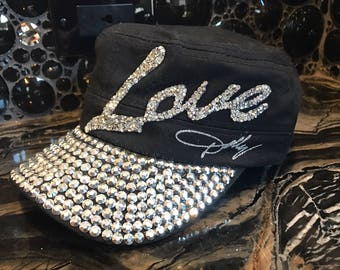 Black Dolly Hat with Love Rhinestone