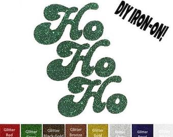 Diy HO HO HO Santa Iron On Vinyl Applique, qoute, font, clothing transfer, decal, patch, party decor, decorative design, shirt, baby, adult