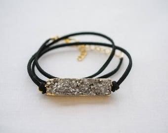 Silver Druzy Bar Wrap Suede Bracelet