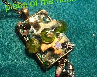 Necklace bohemian funky mixed media jewelry