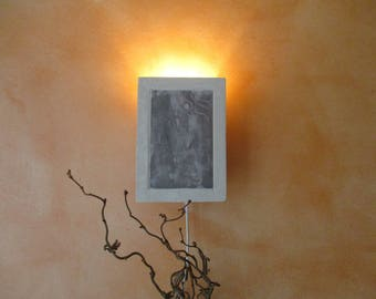 Modern, classical Wall lamp, Wall lamp from ceramic, clay with great lighting, painted with purple and grey Engobed