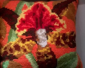 pillow, decorative pillow, gift,Orchid,cross stitch