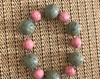 Ceramic Bracelet, Green Ceramic Beads, Color Block Bracelet, 16th Birthday Gift for Her, Profits Donated to Charity