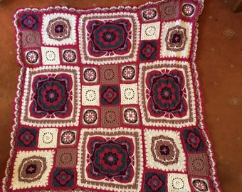Handmade crochet Rose of Avalon blanket (vintage style)